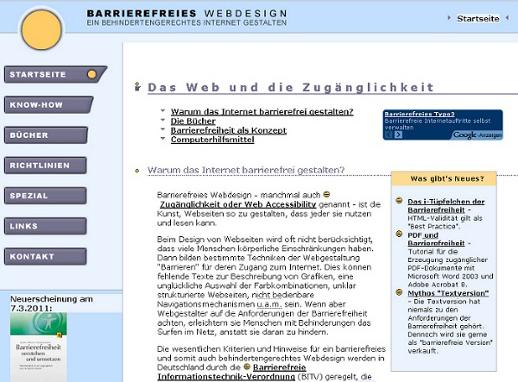 über Diesen Webauftritt Barrierefreies Webdesign De